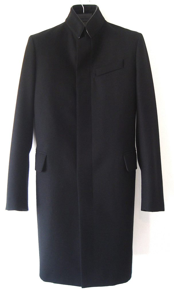 2002 Virgin Wool Coat with Leather-Trimmed Collar and Bondage Strap