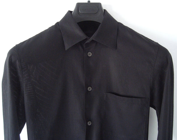 2005 Fine Transparent Stripe Cotton Slim Shirt with French Cuffs