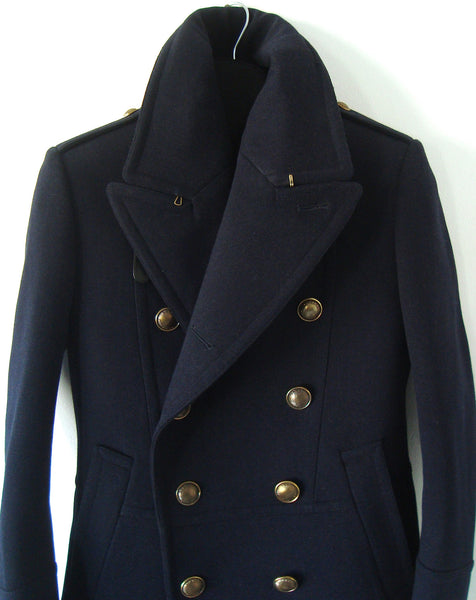 2010 Wool Felt Military Peacoat with Leather Trims