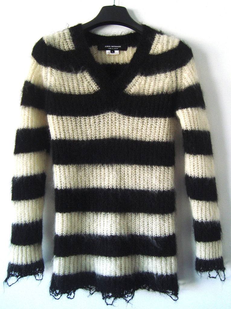 2011 Mohair-blend Striped Sweater with Frayed Details
