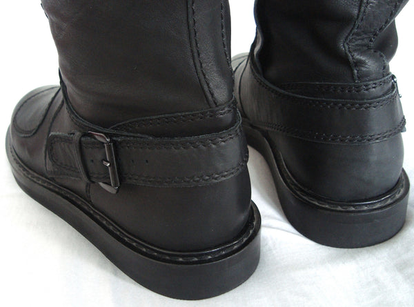 2011 Washed Calf Leather Biker Boots