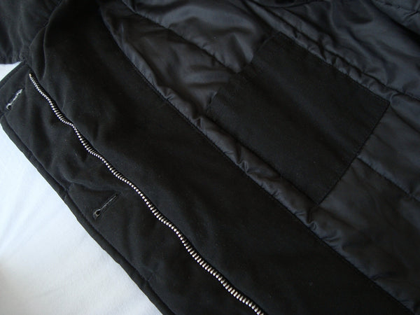1999 Resinated Cotton Padded Biker Coat with Bondage Straps