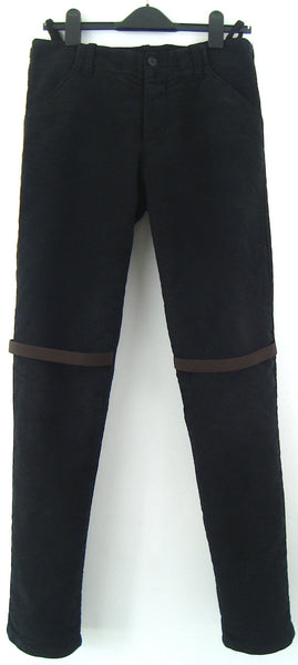 1998 Heavy Moleskin Cotton Slim Trousers with Elastic Straps