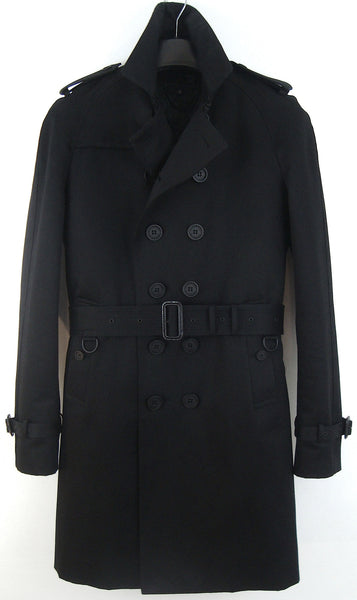 2013 Structured Cotton Trench Coat with Studded Leather Collar