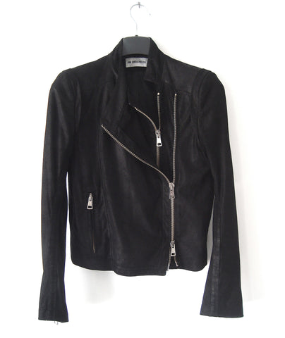 2012 Nubuck Leather 'Angelina' Biker Jacket with Double Zipper