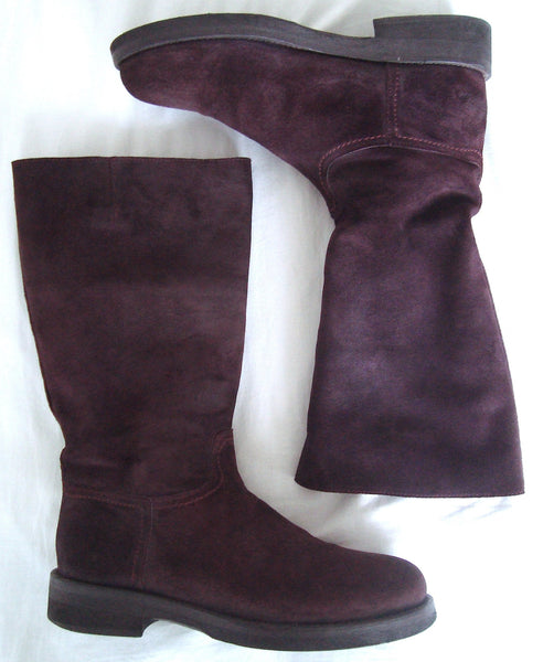 2008 Waxed Suede Riding Boots in Burgundy
