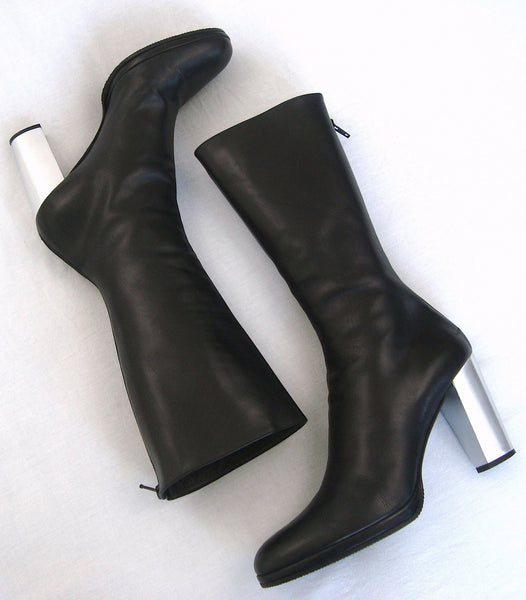 2003 Calf Leather Fitted Mid Platform Boots with Metal Heel