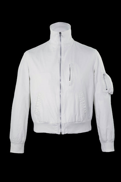 1999 Vintage Resinated Cotton High-Neck Bomber Jacket (Optic White)