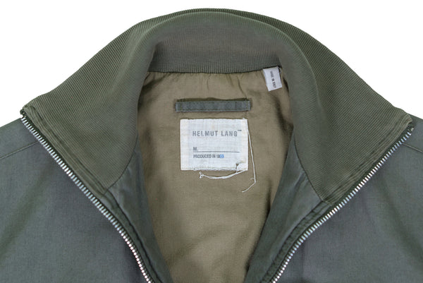 1999 Vintage Resinated Cotton High-Neck Bomber Jacket (Military Green)