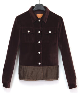 1997 Burgundy Velvet Denim-Style Jacket with Silk Waist Panel