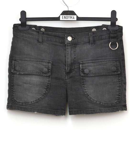 2005 Vintage Sanded Broken Denim Military Shorts with Metal Detail