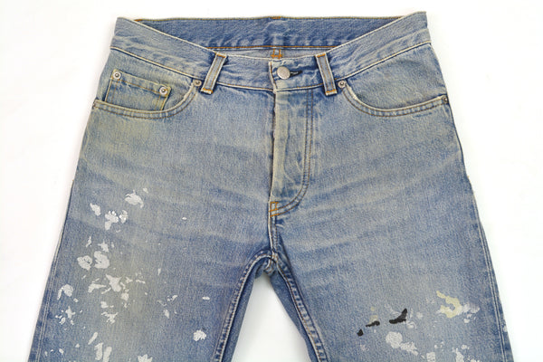 1999 Vintage Heavy Sanded Broken Denim Painter Jeans (Light Wash)