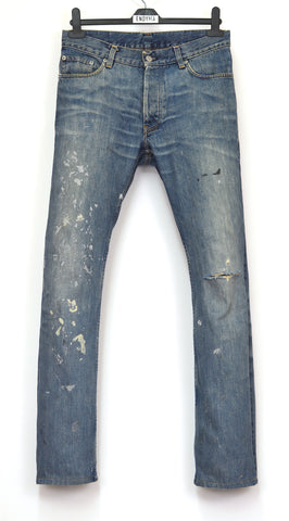 1998 Vintage Sanded Broken Denim Painter Jeans (Medium Wash)