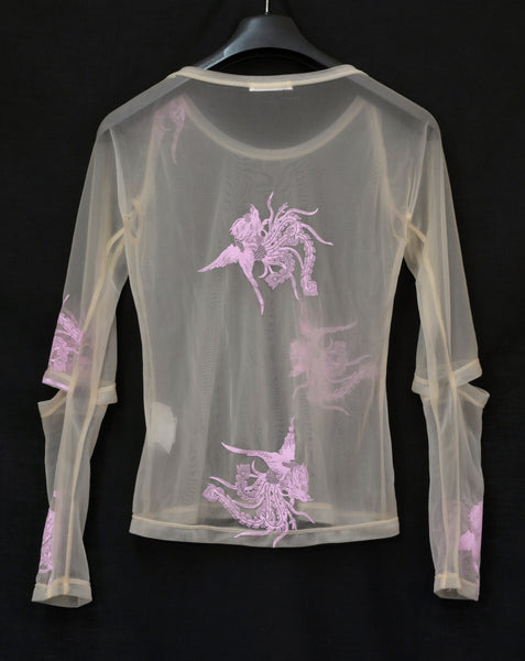 1995 Transparent Jersey Phoenix T-Shirt with Slashed Sleeves