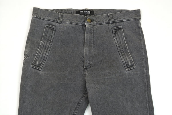 2005 Acid Washed Denim Asymmetric Spiral Jeans with Pocket Details