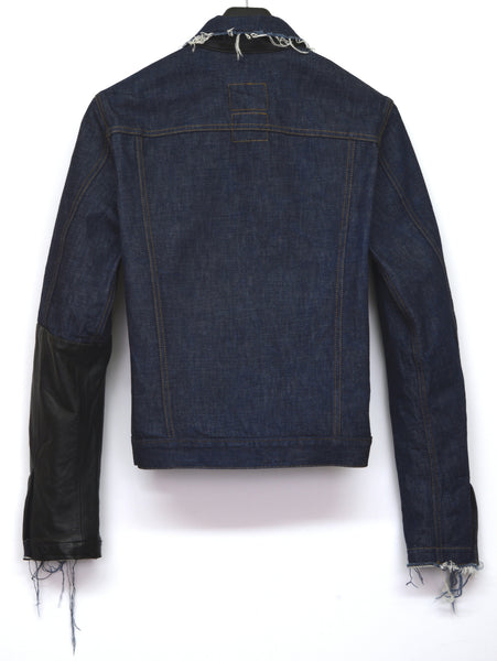 2003 Raw Denim Slim Classic 1-Pocket Jacket with Asymmetric Leather Applications