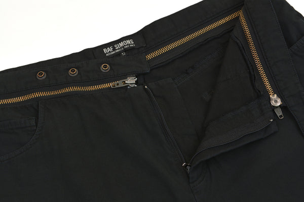 2002 Black Double Cotton Jeans with Deconstructed Zip Waistband