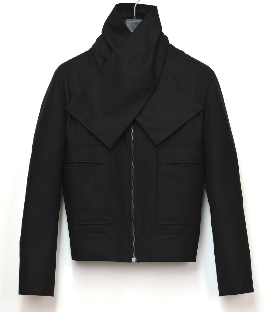 2007 Extrafine Wool Bomber Jacket with Detachable Scarf