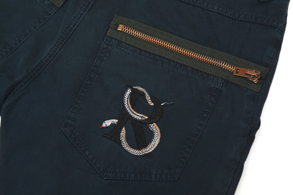 2010 Vintage Twill Workwear Trousers with Snake Embroidery