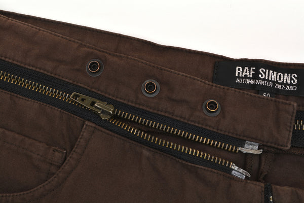 2002 Brown Double Cotton Jeans with Deconstructed Zip Waistband