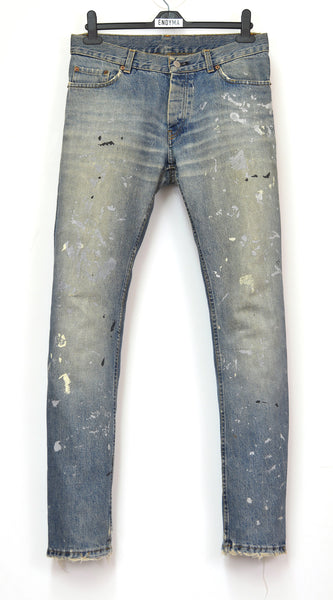 1998 Vintage Sanded Broken Denim Painter Jeans (Medium/Light Wash)