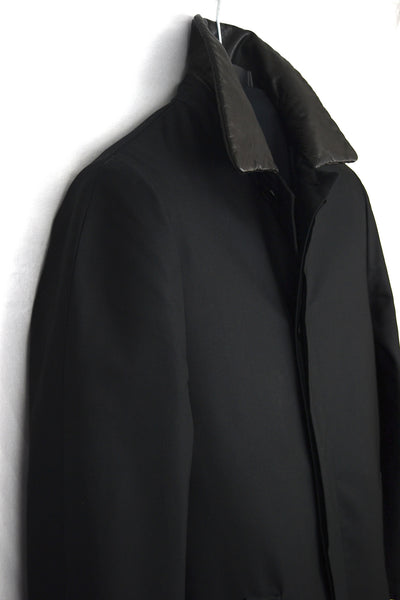 2001 Coated Silk Half-Raglan Raincoat with Leather Collar