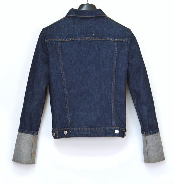 1999 Washed Raw Denim Classic 2-Pocket Jacket with Turn Up Sleeves