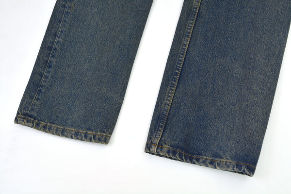 2000 Vintage Sanded Denim Painter Jeans (Dark Wash)