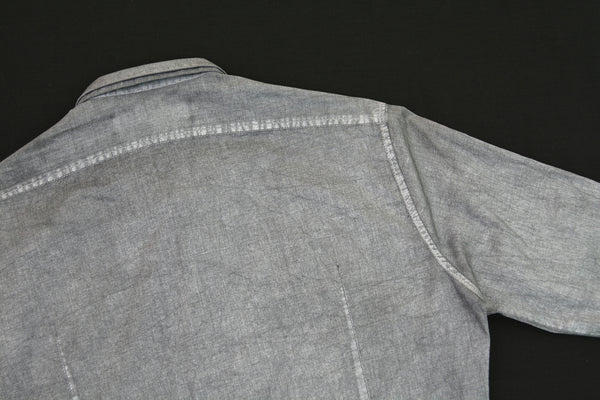 2007 Silver-Printed Cotton Short Darted Shirt with Double Collar