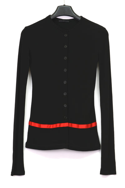 1997 Compact Technical Jersey Cardigan with Stripe Detail