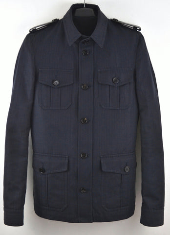 2006 Herringbone Twill Military Jacket with Leather Epaulettes