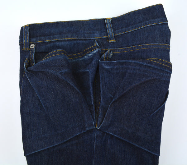 2004 Elastic Raw Denim Slim Jeans with Asymmetric Waist Pockets