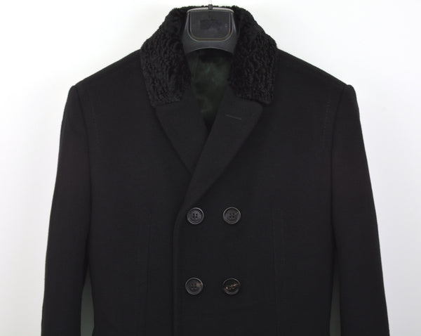 2011 Sartorial Top Coat with Shearling Collar and Pleated Back