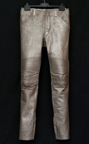 1999 Platinum-Printed Lamb Leather Biker Trousers