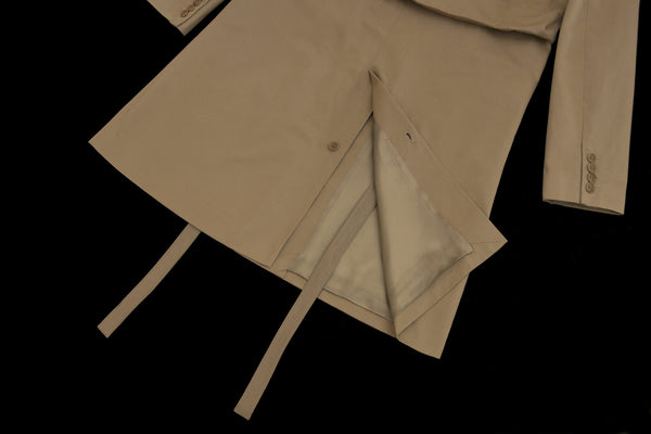 2000 Darted Shoulder Military Raincoat with Leather Details and Belt