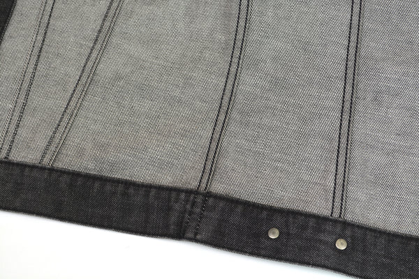 2001 Grey Raw Denim Classic 2-Pocket Jacket with Turn Up Sleeves