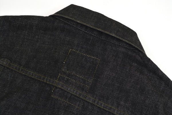 2002 Raw Denim Slit-Pocket Jacket with Turn Up Sleeves