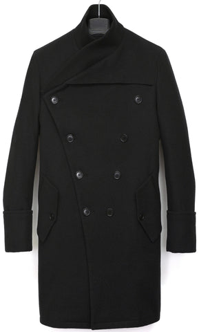 2005 Wool Felt Double-Breasted Bomber Coat with Oversized Lapels