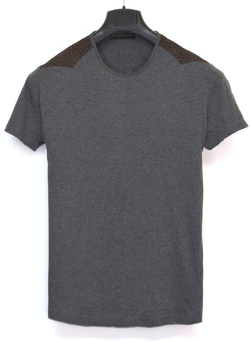 2004 Slim T-Shirt with Patterned Shoulder Panels