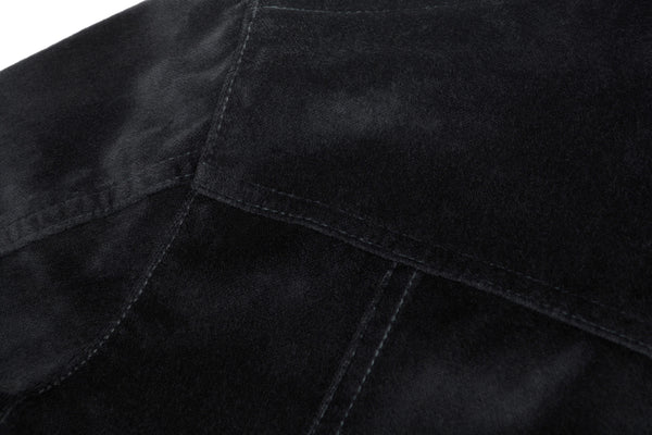 1997 Velvet Denim-Style Coat with Sateen Binding Details