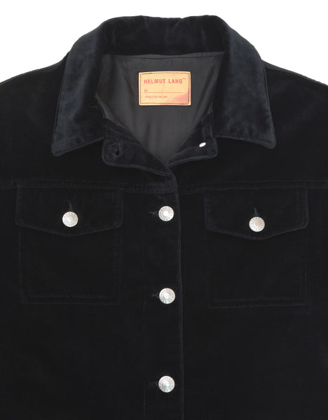 1997 Black Velvet Denim-Style Jacket with Silk Waist Panel