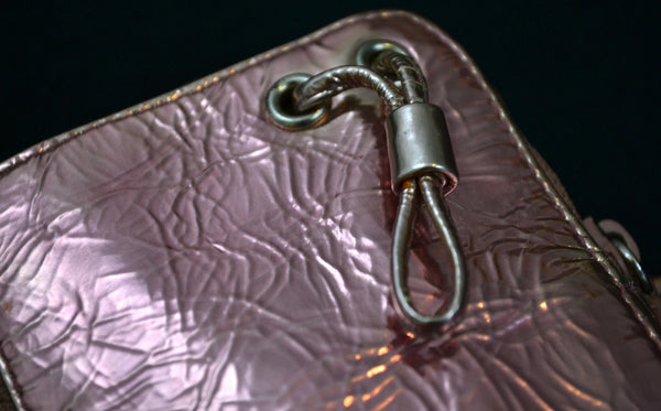 2004 Crushed Metallic Leather Zipped Evening Case