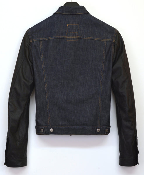 2004 Coated Raw Denim Slim Classic 2-Pocket Jacket with Leather Sleeves