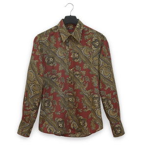 2005 Fitted Shirt in Virgin Wool Twill with Diagonal Paisley Print