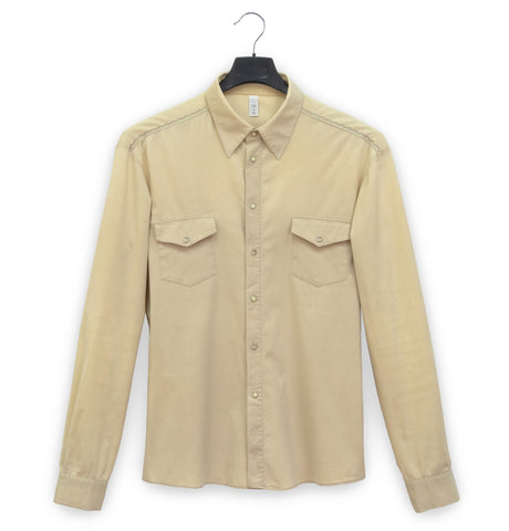 2001 Western Shirt with Zig-Zag Stitching in Stretch Cotton Poplin