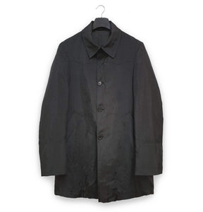 1990s Oversize Western Car Coat in Washed Black Nylon
