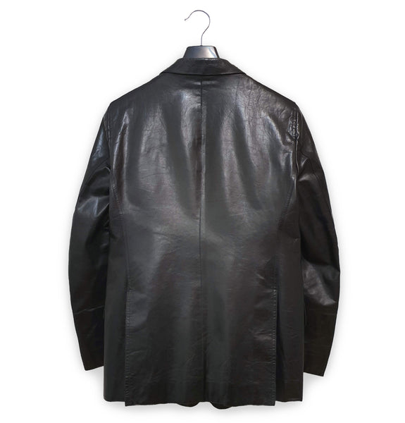 2000 Slanted Pocket Jacket in Structured Polished Calf Leather