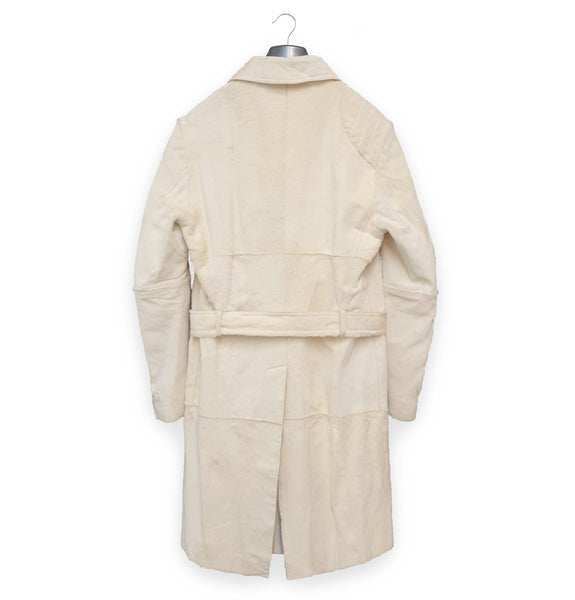 2000 Belted Car Coat with Asymmetric Hunting Panel in Goat Fur