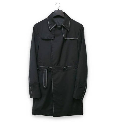 2001 Trench Coat with Contrast Stitching in Fine Wool & Silk