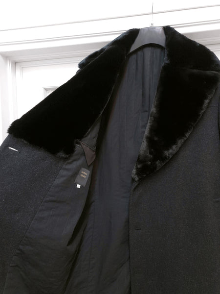 1990s Asymmetric Chesterfield Coat with Faux Fur Lapels in Loden Wool